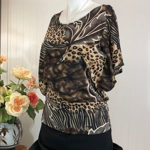 🏆CLAUDIA RICHARD Cheetah Animal Print Batwing Top